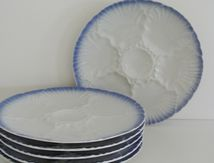 Lot de 6 assiettes à huitres Décor bleu Bareuther Bavaria Vintage