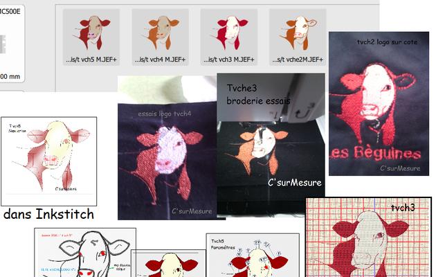 Broderies logos vaches :  Essais créas tete vache 2 3 4 5 ...