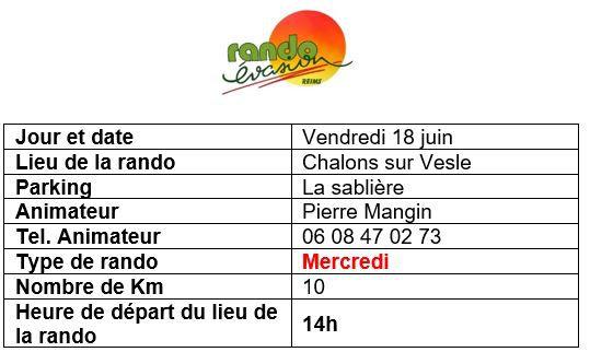 Rando vendredi 18 juin à Chalons sur Vesle