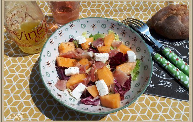 Salade, Feta, Jambon cru et Melon