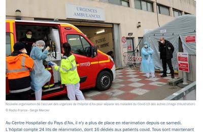 COVID-19: Centre hospitalier du pays d'Aix. Il n'y a plus de place en réanimation