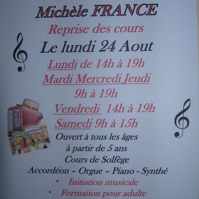 Ecole d'accordéon Michèle FRANCE Reprise des cours