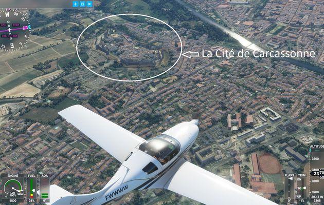 Survol de la Cité de Carcassonne lors d'un vol test de MFS2020...