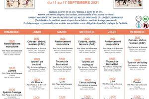 Programme des animations pour la période du 11/09 au 19/09