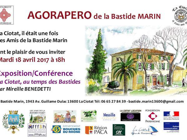 "Agenda de la Bastide MARIN - Mardi 18 avril à 18h - Agorapéro ""La Ciotat, au temps des Bastides"""