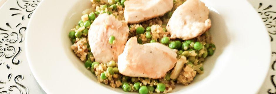 Quinoa au poulet et petits pois façon risotto