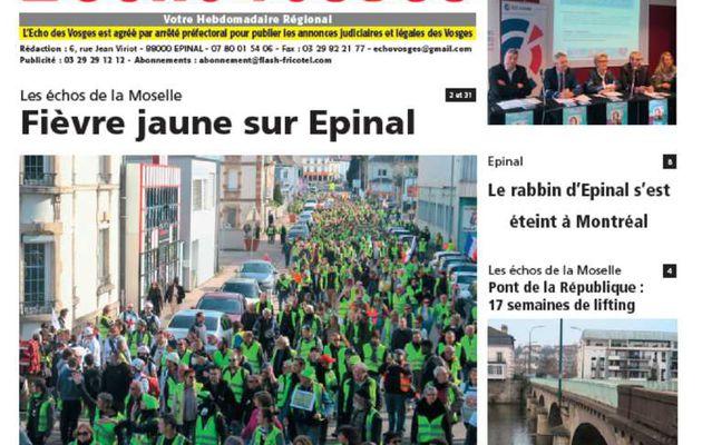 La Une du 28 février 2019 - Edition d'Epinal