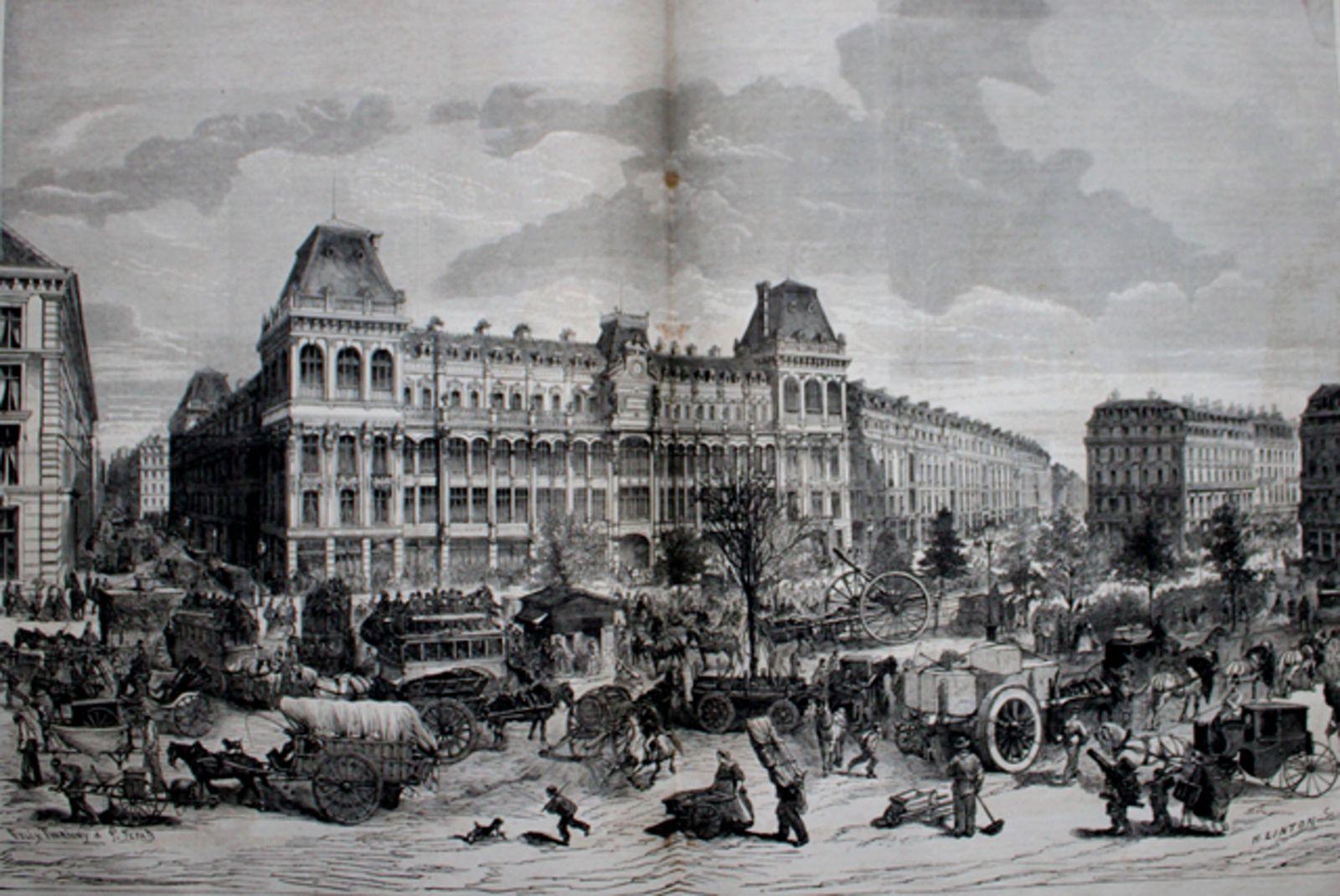 """Dessin de N. Linton représentant la circulation du """"nouveau Boulevard"""" devant l'établissement des magasins réunis (Paru dans le monde illustré du 30 Mars 1867)"""