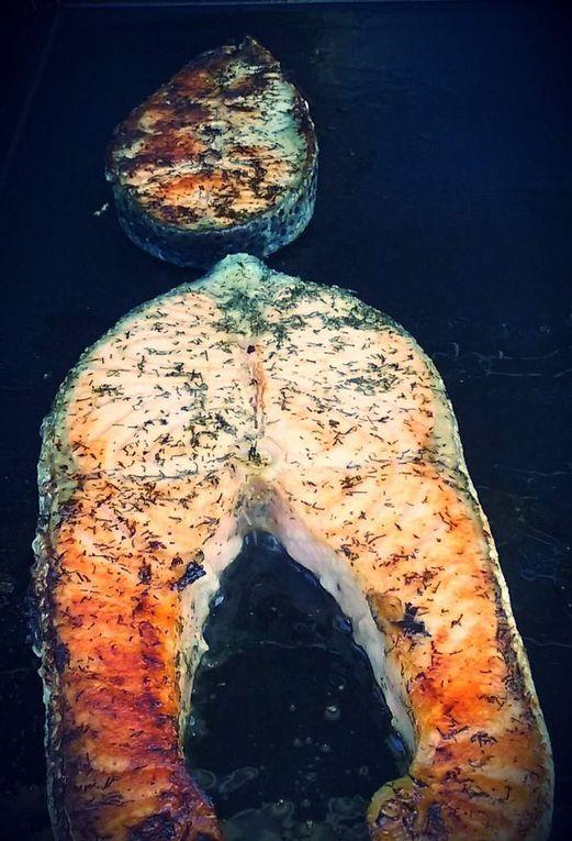 Darnes de saumon marinées à l'aneth à la plancha