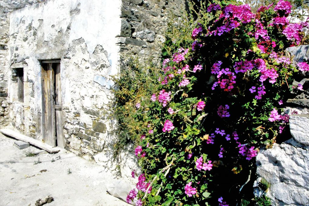 Bien sûr, le village d'Olymbos ( deux premières dias ) où les voitures n'accédent pas est admirablement situé et plein de charme. En mai,  de nombreuses maisons sont vides, ce qui donne aux lieux une étrange tranquillité, au-dessus de la mer. Karpathos, les Grecs le disent eux-mêmes, c'est la Grèce d'avant, restée hors du temps; plus à l'est, l'île de Rhodes est à la pointe du tourisme avec ses plages compartimentées entre Allemands, Anglais, Scandinaves.
