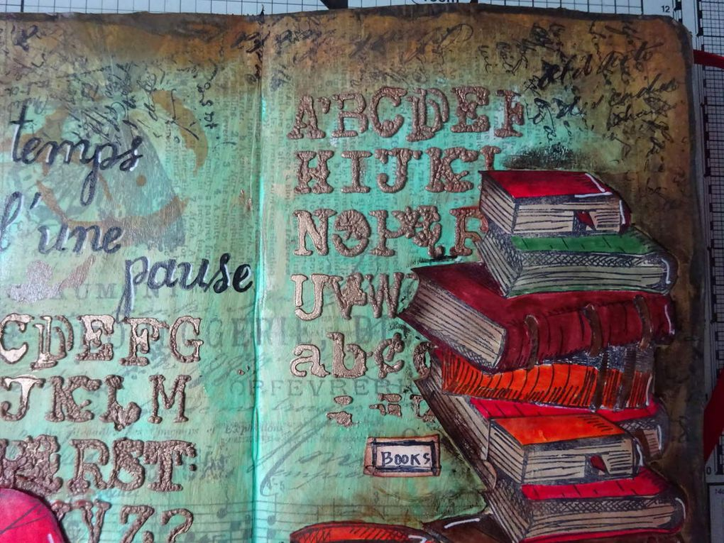 Art Journal: books and cup of coffee