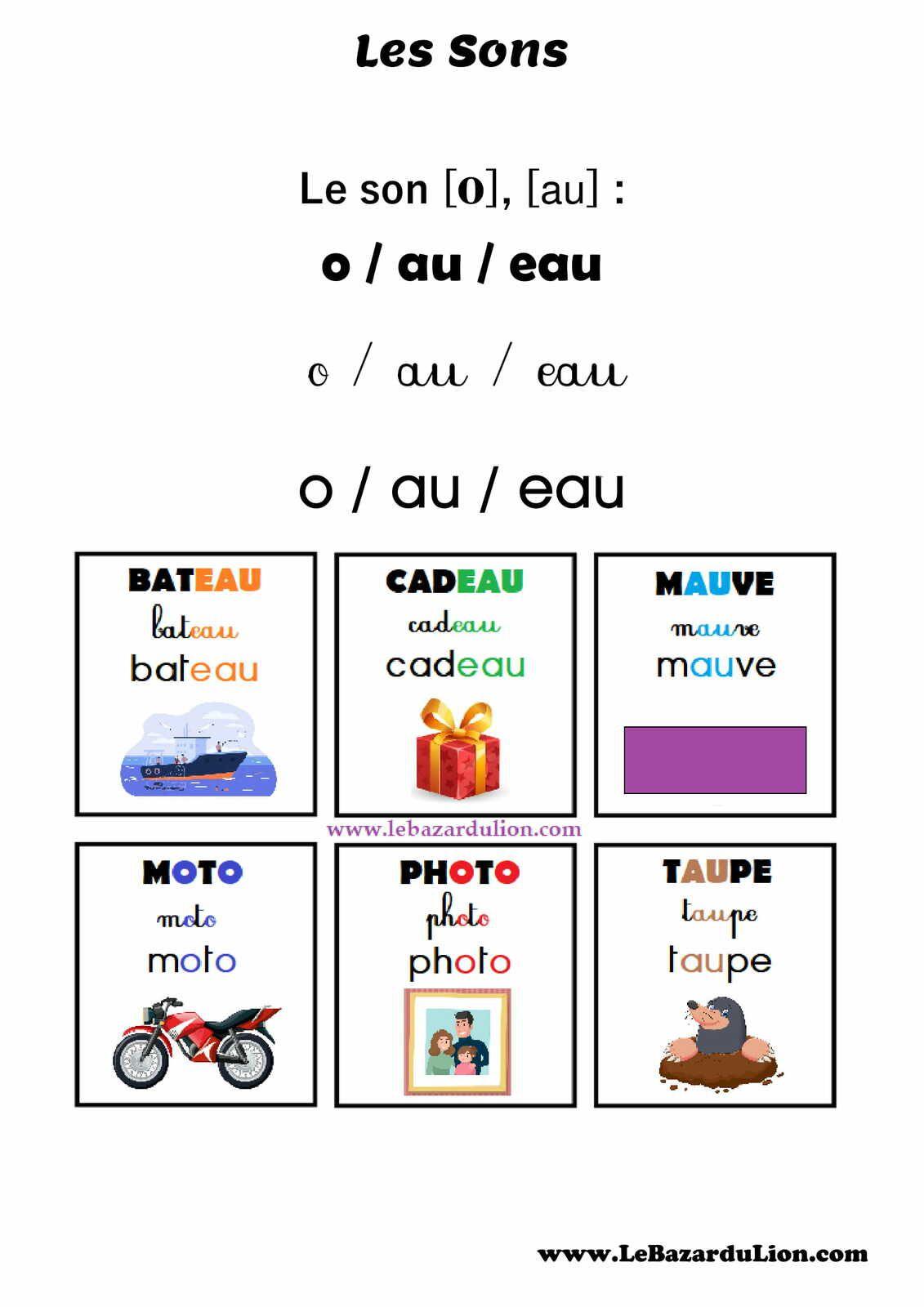 """Les Sons : Le Son """"au"""" (o) [Affichage][Maternelle]"""