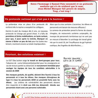 Grève du 10 novembre pour un renforcement de la sécurité sanitaire au travail : le tract de la CGT Educ'action 59/62