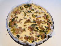 Tarte aux courgettes lardons et champignons