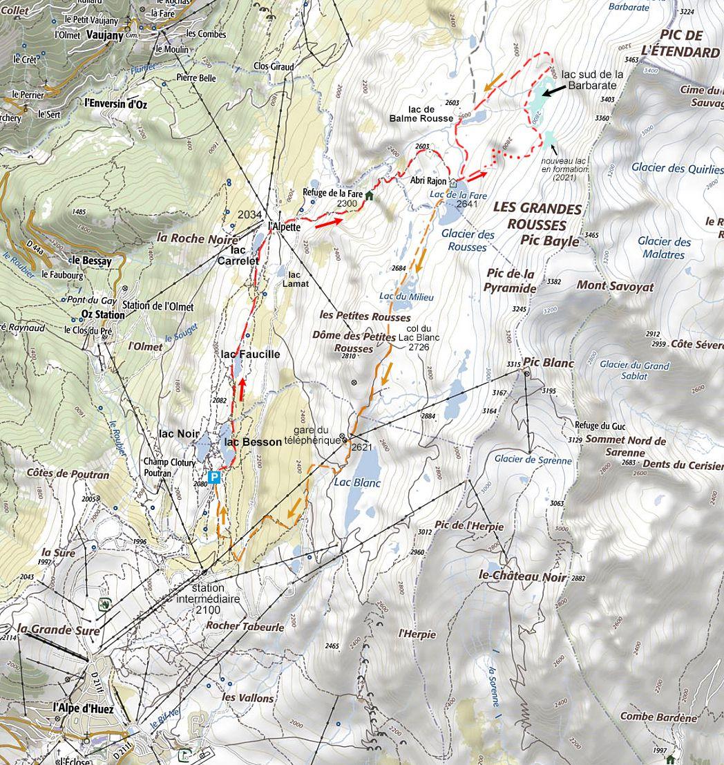 En rouge, l'accès à la Fare et à la Barbarate par le plan inférieur depuis la route des Lacs qui vient du haut de la station de l'Alpe d'Huez.  En orange, retour par les lacs des Rousses.
