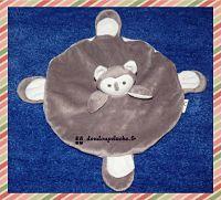 Doudou plat rond, chouette ou hibou, Léonies' France, gris blanc, www.doudoupeluche.fr