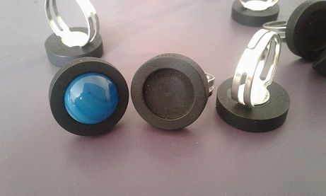 12mm,bois noir,acier inoxydable,base bague ajustable,collage cabochon rond,fond plat,image verre fimo,fourniture bricolage mercerie,boheme bobo gothique,art deco contemporain,zen durable ecolo,punk mode fashion