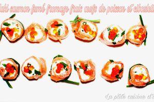 Maki de saumon fumé au fromage frais, œufs de saumon et ciboulette