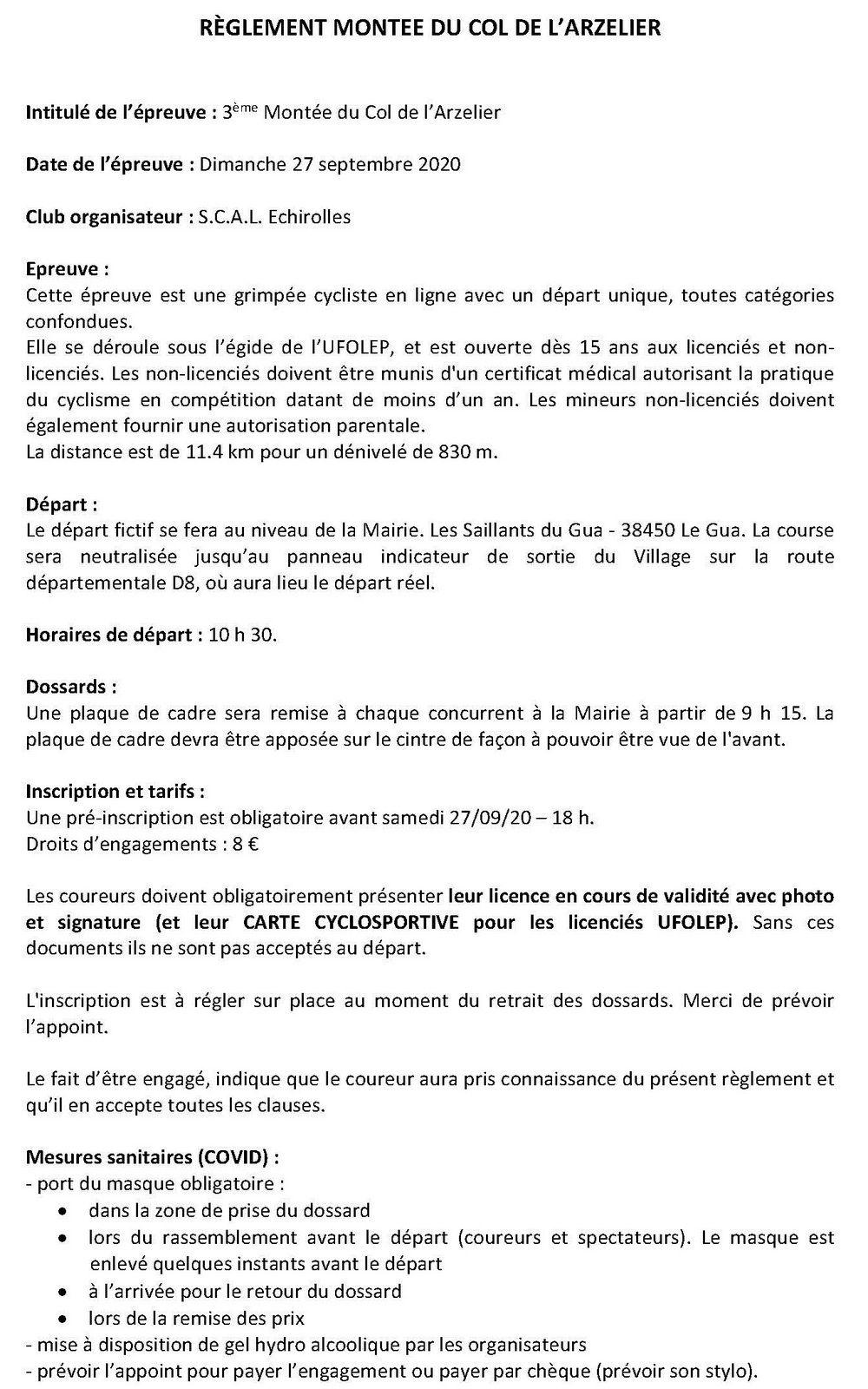 Montée du Col de l'Arzelier - 3ème édition - 27/09/20
