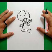 Como dibujar a Toad paso a paso 2 - Videojuegos Mario | How to draw Toad 2 - Mario video games
