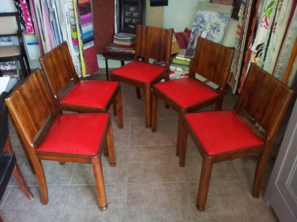 réfection chaise tissu imitation croco  ARABESQUE La decoration sur mesure THIERS Puy de Dome 63 TAPISSIER DECORATEUR fauteuil rideaux stores tissus