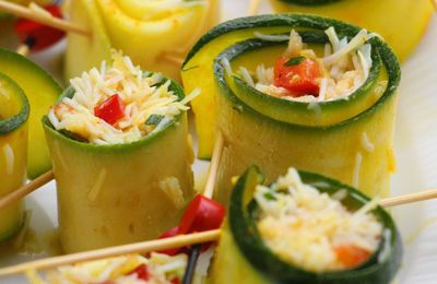Cannelonis de courgette au  crabe, curry et citron
