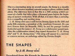 """J.-H. Rosny """"The Shapes"""", trad. de Damon Knight in The Magazine of Fantasy and Science Fiction n°34 (1968)"""