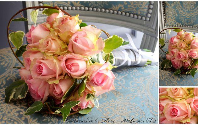 Bouquet de mariée romantique, rose, style Anglais   Fleuriste mariage Jacou