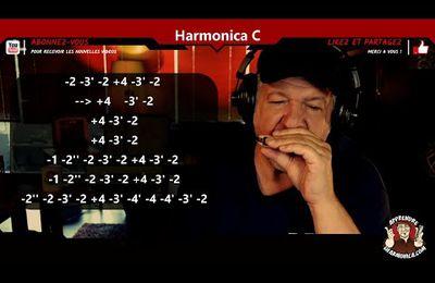 Improvisation Funky Blues sur un harmonica accordé en Do C avec tablature intégrée