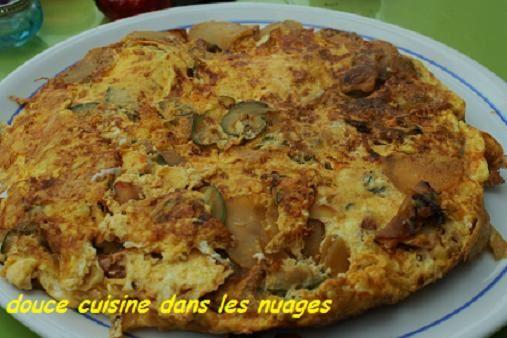 Omelette courgette, pommes de terre, chorizo