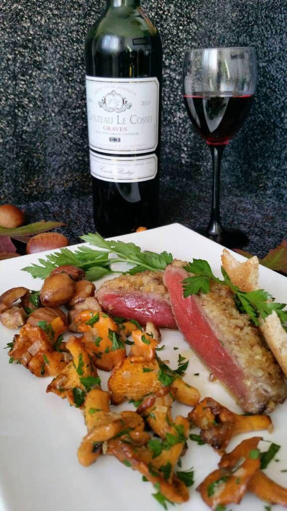 Pavé de boeuf châtaignes et girolles et vin Château le Cossu des Vignobles GUINDEUIL