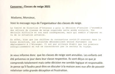 Annulation des classes de neige :-(