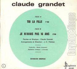 """Claude grandet, un chanteur français des années 1960 qui fut l'auteur du hit """"je n'avais pas seize ans"""""""