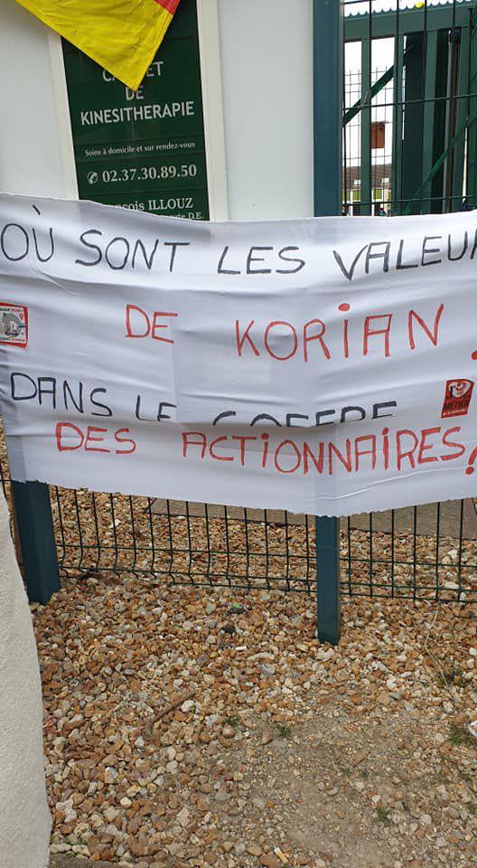 """Débrayage à Korian Villa Evora aujourd'hui! """"Tout va bien à Korian...on manque pas de bras...on va pas arrêter l'économie européenne pour ça...on va tous mourir en bonne santé...""""!"""
