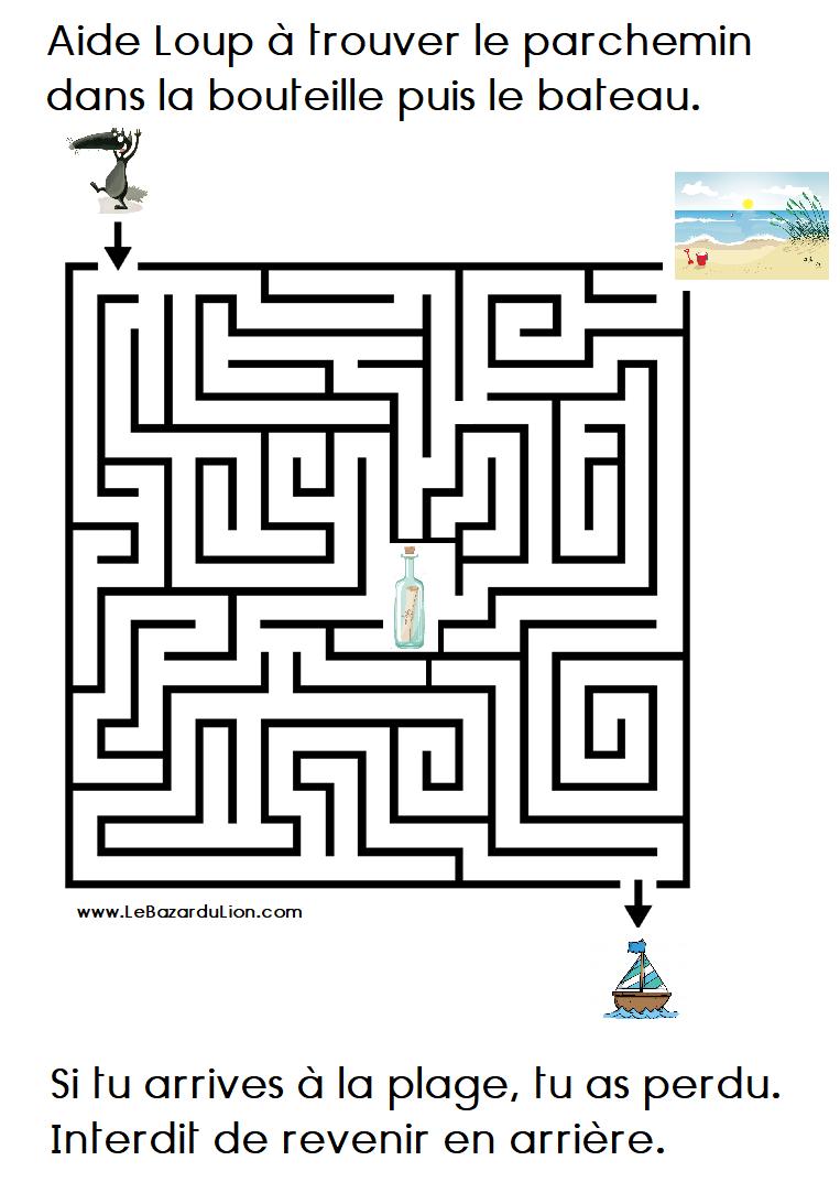 Activité Labyrinthe (Annexe : Le loup qui rêvait d'océan) [Dossier][Maternelle][MS]