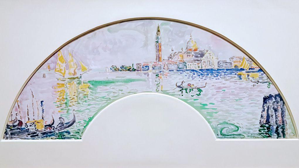 Paul Signac, Venise. San Giorgio (éventail), 1904, Aquarelle sur soie marouflée sur carton