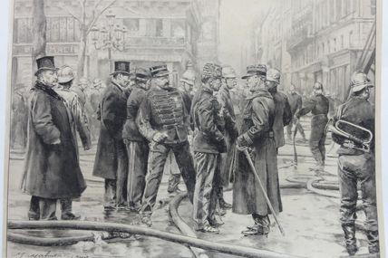 dessin original pompiers de Paris en 1900 Maurice Mahut (1878-1929)