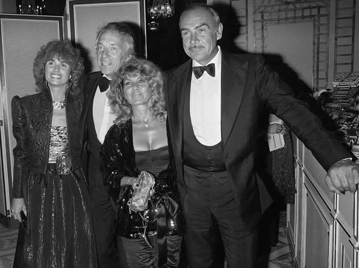 Mr. Connery with his wife, Micheline Roquebrune, second from right, at the American Film Festival of Deauville in 1981. At left are the actor Jean-Pierre Cassel and his wife, Anne.Credit...Mychele Daniau/Agence France-Presse — Getty Images