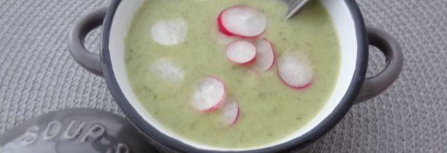 Soupe de fanes de radis et radis croquants