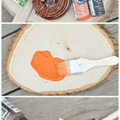 Painted Wood Slice Pumpkins | A Night Owl Blog