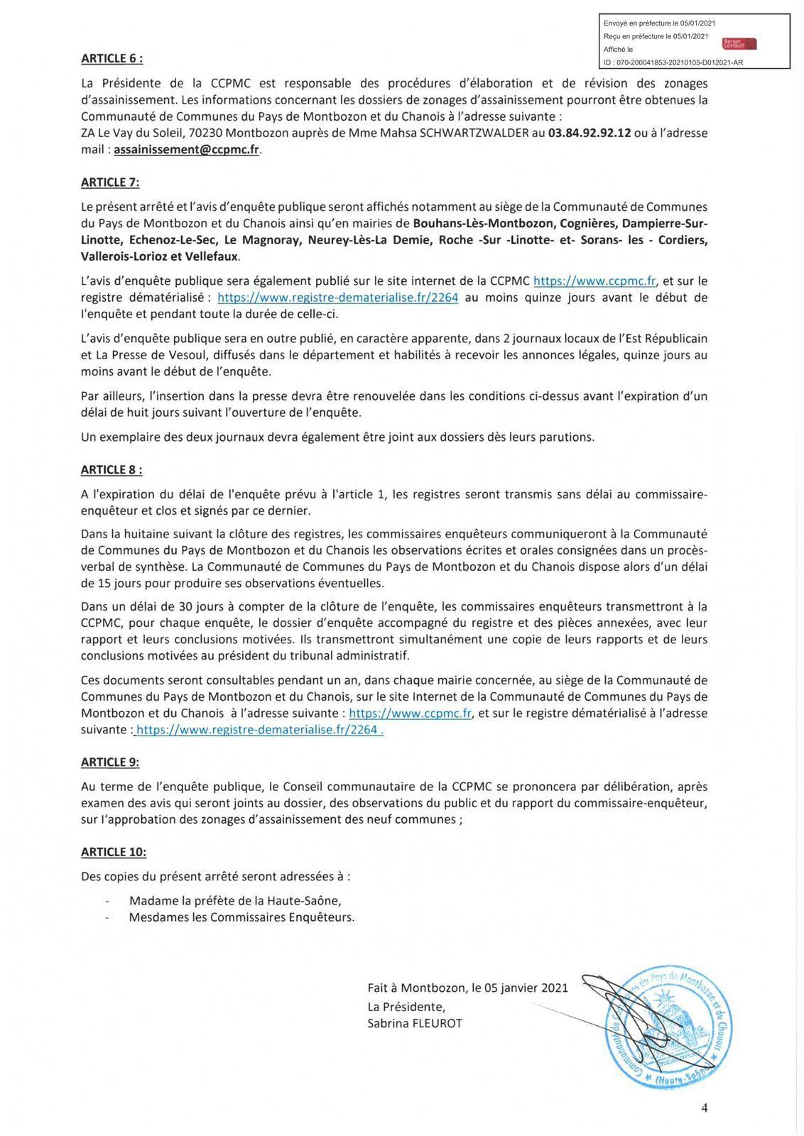 Avis d'enquêtes publiques - Projets de zonages d'assainissement