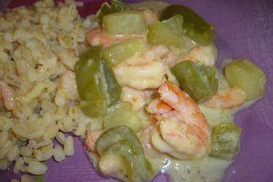 Estouffade de concombre aux crevettes
