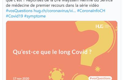 """Emission 24 Novembre 2020 - Hug - On entend de plus en plus parler du """"long Covid"""", qu'est ce que c'est ? Réponses de la Dre Mayssam Nehme du Service de médecine de premier recours"""