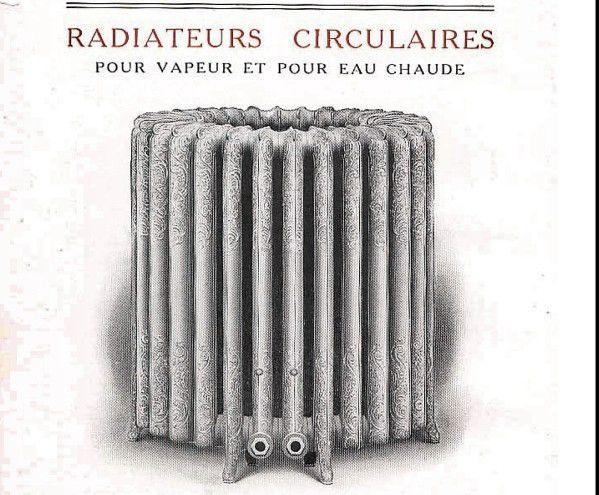 """Ces radiateurs sont livrés en 2 pièces formant 2 radiateurs demi-circulaires séparés ,  qui sont simplement réunis ensemble . Ils sont livrés avec 4 orifices pour la robinetterie , ils peuvent fonctionner par moitié . Radiateur centenaire à motifs """"rococo"""" fabriqué dans les usines de la Compagnie National des Radiateurs à DOLE dans le JURA  . 8000watts de chauffe , poids des 2 radiateurs 500kg environs ."""