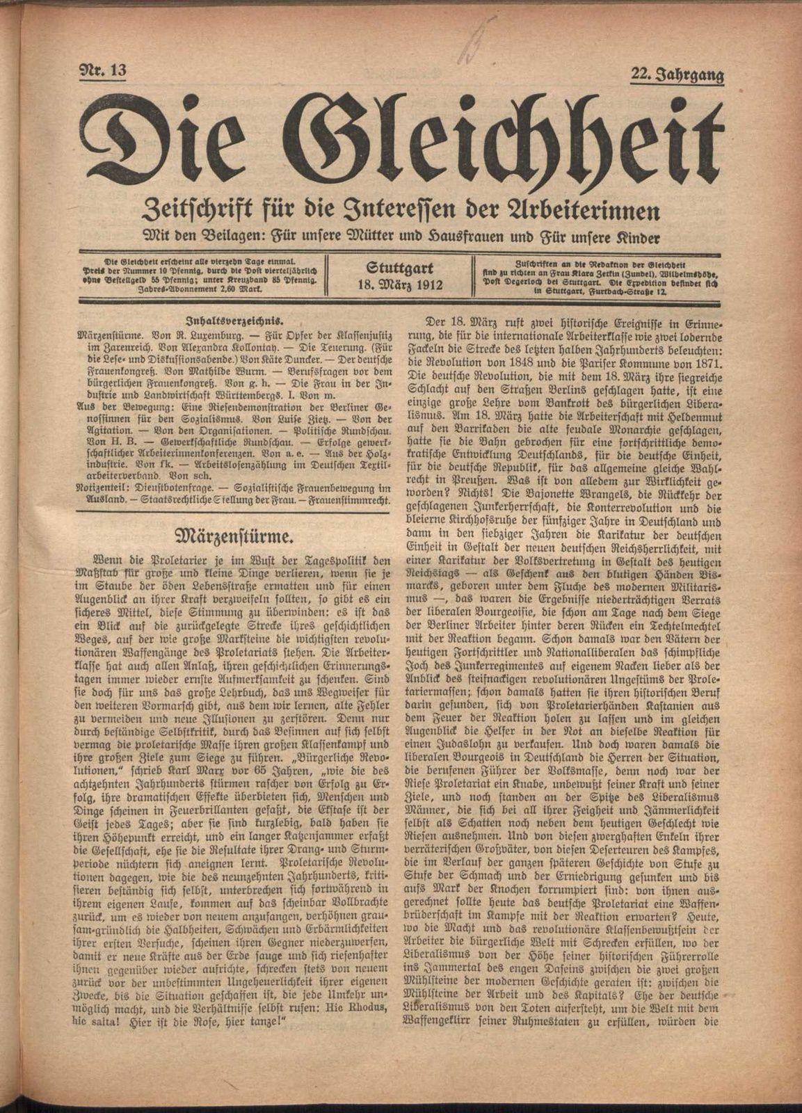 Märzenstürme1 - Die Gleichheit 18 mars 1915