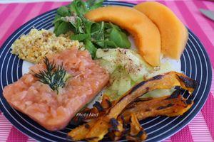 Assiette-Repas : Saumon fumé-Poivrons grillés-Melon-Etc.