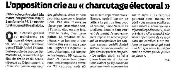 """L'opposition crie au """"charcutage électoral"""""""