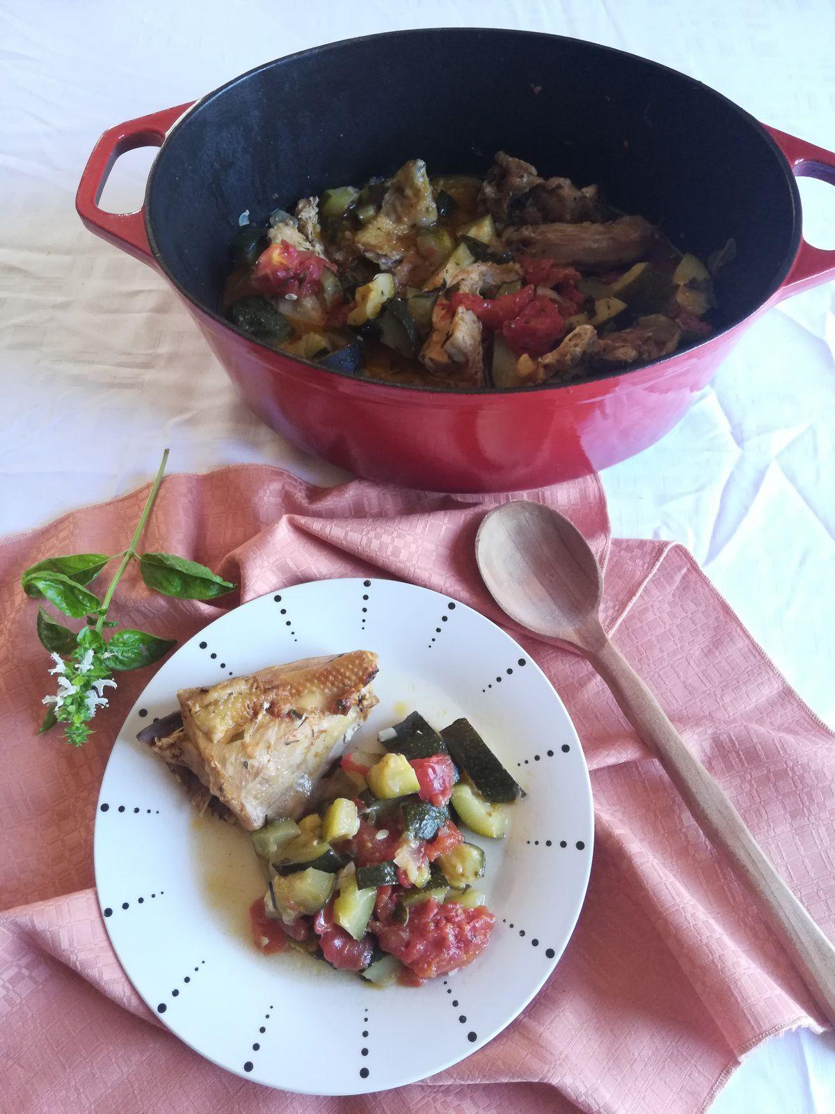 poulet aux courgettes et tomates