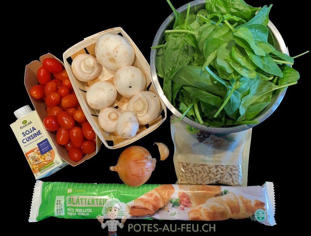 Tarte Couronne végane aux Épinards, Tomates et Champignons