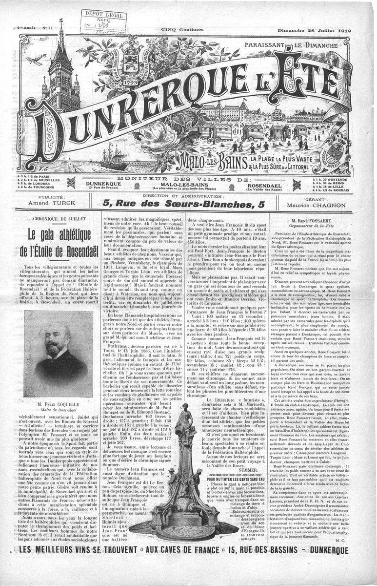 Journal Dunkerque l'Été  1912 à 1914